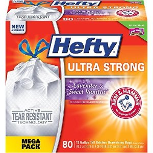 $8.64Hefty Ultra Strong Trash Bags (Lavender Sweet Vanilla, Tall Kitchen Drawstring, 13 Gallon, 80 Count)