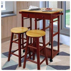 $89.99(Org.$299.99)Casual Home Drop Leaf Hardwood Mobile Breakfast Cart @ VM Innovations