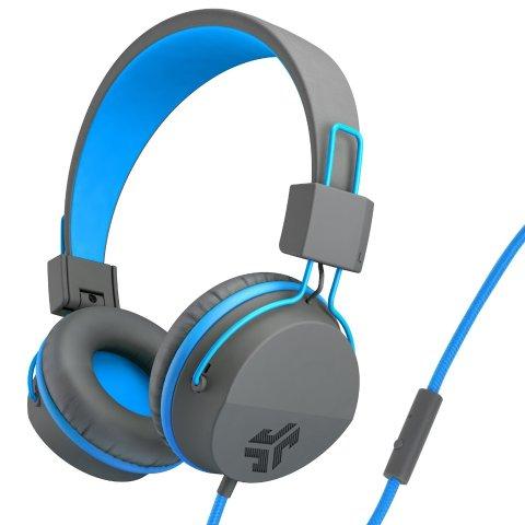 JLab Audio JBuddies Studio Volume Safe, Folding, Over-ear Kids Headphones with Mic - Gray / Blue