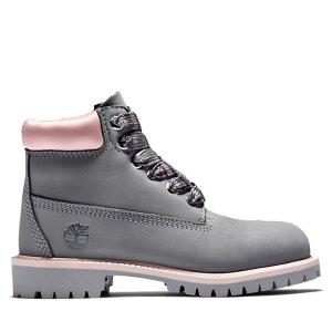 Timberland高级短靴 6寸 大童款 灰粉色