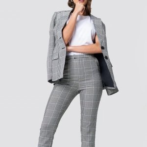 High Waist Checkered Suit Pant