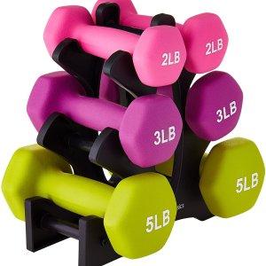 $34.99起 多个重量组合可选补货:Amazon Basics 家用彩色哑铃组合热卖 包含架子