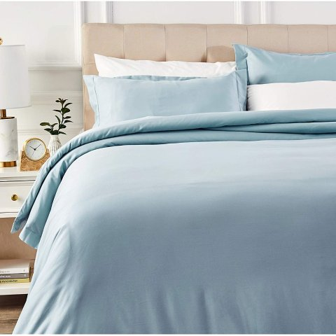 AmazonBasics 400 Thread Count Cotton Duvet Cover Bed Set with Sateen Finish - King