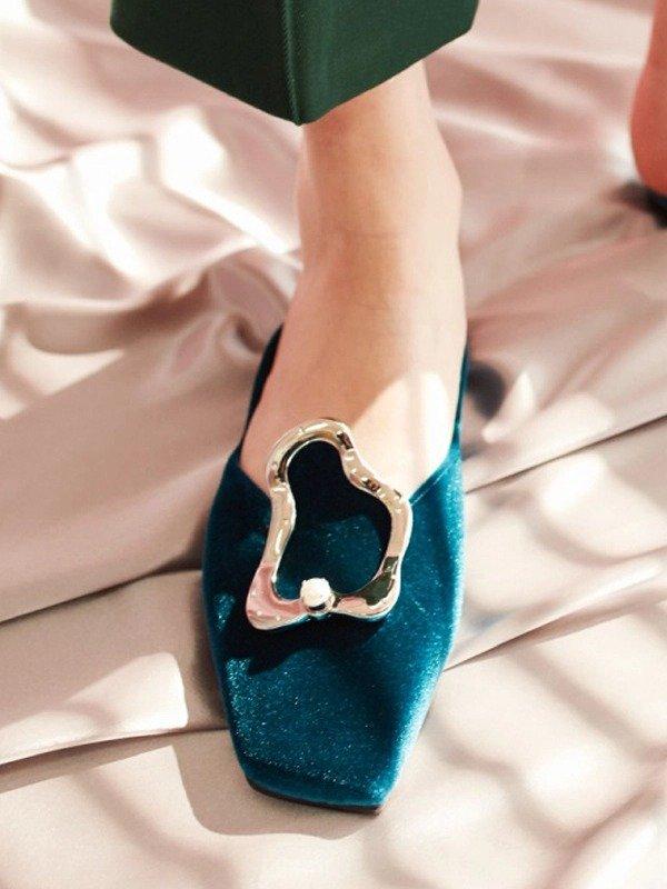 不规则丝绒穆勒鞋