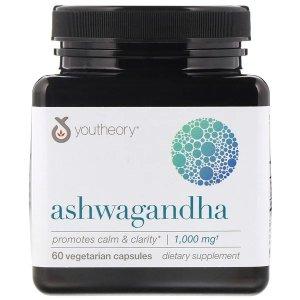 youtheoryYoutheory, Ashwagandha, 1,000 mg, 60 Vegetarian Capsules