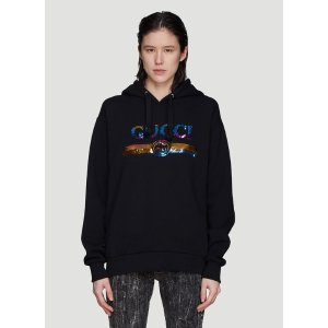GucciHooded Rainbow Logo Sweater in Black