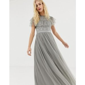 ASOSNeedle & Thread embroidered bodice tulle gown in ash grey at asos.com