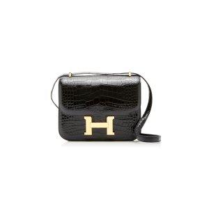 Hermes Vintage by Heritage Auctions18cm 黑色鳄鱼皮Constance 康康包