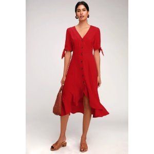 Gemma Red Button Front Tie Sleeve Ruffled Midi Dress