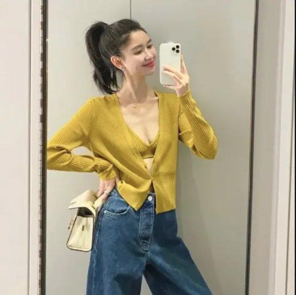 姜黄色开衫