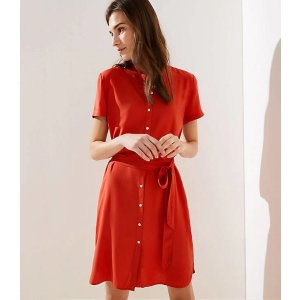 LOFTShort Sleeve Tie Waist Shirtdress | LOFT