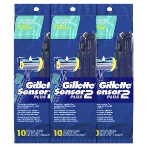 Gillette Sensor2 Plus Men's Disposable Razor, Pivot, 10 count