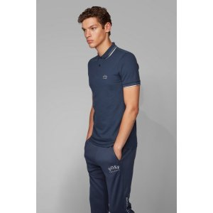 BOSS- Slim-fit polo shirt in stretch pique with curved logo