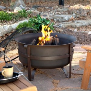 Coral Coast Brockton Steel Cauldron Fire Pit with FREE Cover