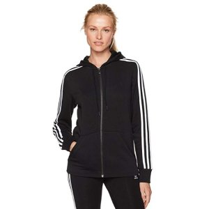 $22.49(原价$55.00)+包邮adidas Essentials 女款三道杠经典拉链运动卫衣