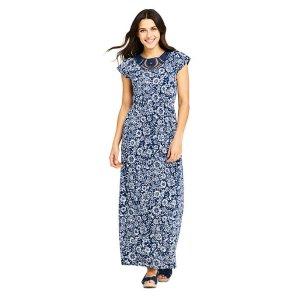 Lands' EndWomen's Short Sleeve Knit Crochet Neck Print Maxi Dress