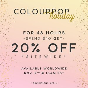 20% Off Sitewidewith any  $40+ orders @ Colourpop