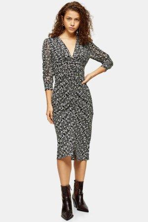 PETITE IDOL Mix Fabric V Neck Ruched Midi Dress | Topshop