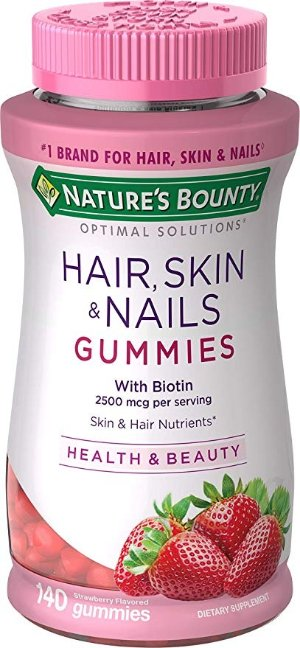 Nature's Bounty Vitamin Biotin Optimal Solutions Hair, Skin and Nails Gummies, 140 Count, (Pack of 1)