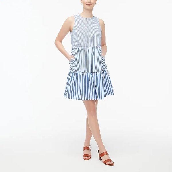 分层条纹连衣裙
