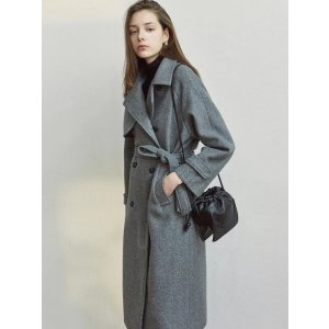 YAN13Wool Trench Long Coat Grey