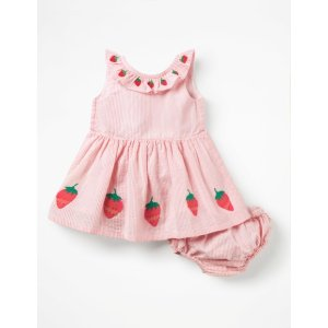 BodenStrawberry Applique Dress - Shell Pink Strawberries | Boden US