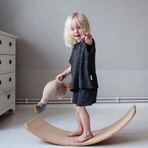 $97.99(原价$137.99)DWDream 木制平衡板 摇摇晃晃锻炼孩子平衡瑜伽板