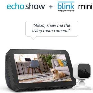 $54.99 Prime会员专属Echo Show 5 智能家庭助手 + Blink Mini 室内监控安防摄像头