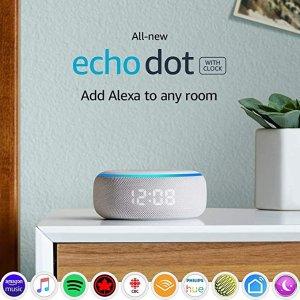 $39.99(原价$79.99)Echo Dot 第3代智能音箱  时钟版 5折好价