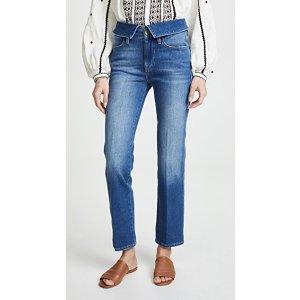Frame高腰直筒牛仔裤