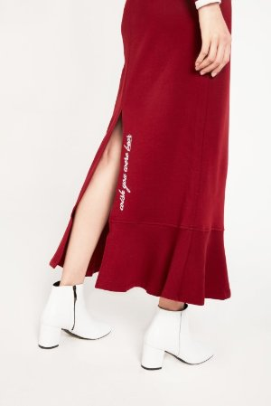 Grey Lab Drawstring Maxi Skirt With Ruffle Hem