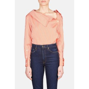 AltuzarraEileen Asymmetric Collar Button Top - Persimmon
