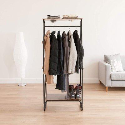 3e39a959f5a IRIS Metal Garment Rack with 2 Wood Shelves - Dealmoon