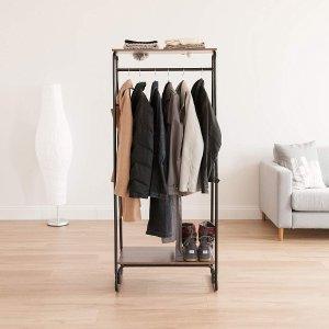 IRIS Metal Garment Rack with 2 Wood Shelves