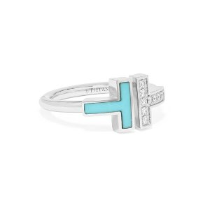 Tiffany & Co.T Square 18-karat white gold, turquoise and diamond ring
