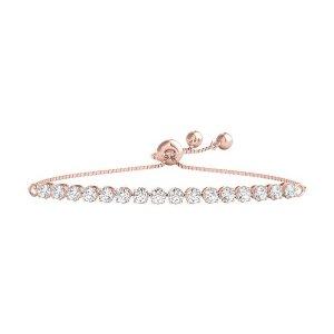 10K玫瑰金钻石手链
