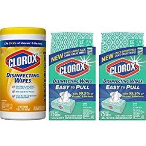 $8.99Clorox消毒湿巾超值套装  75片3包装
