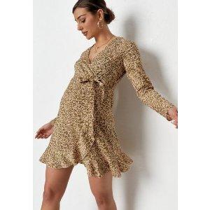 Missguided- Pink Leopard Print Wrap Ruffle Maternity Dress