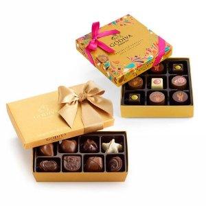 Godiva巧克力节新口味礼盒 9颗装+巧克力金色礼盒 8颗装