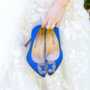 最高送$700礼卡Manolo Blahnik 女士鞋履 入经典钻扣,BB高跟 白钻也有 粉色中跟补货
