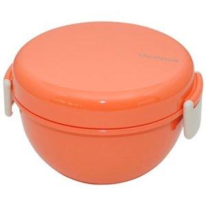 Takenaka两锁扣珊瑚色圆形便当盒