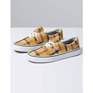 VansPlaid Era Yellow & True White Womens Shoes