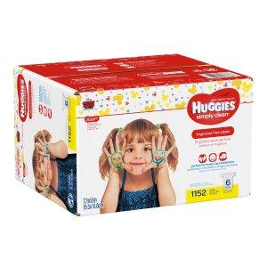 $14.24(原价$24.98) 呵护宝宝娇嫩肌肤Huggies 好奇 无香婴幼儿湿巾纸补充装 384抽
