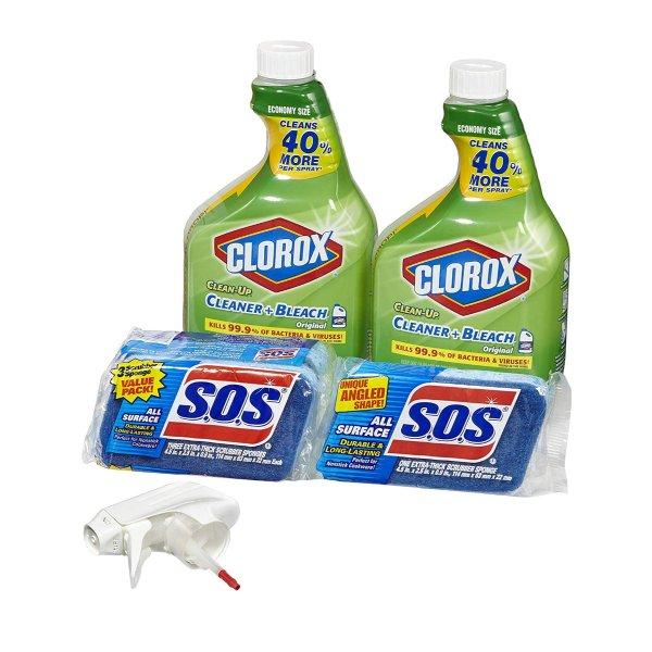 清洁套装,32oz清洁剂2瓶+4只清洁海绵