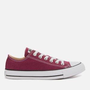 Converse暗红色低帮帆布鞋