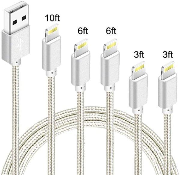 5Pack(3ft 3ft 6ft 6ft 10ft) iPhone Lightning 数据线 MFi