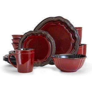$100.37(原价$149.35)Elama 复古雕花餐具16件套装 红金配色奢华气息