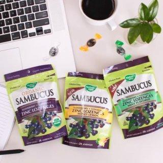 Nature's Way Sambucus Zinc Lozenges with Elderberry and Vitamin c, Honey Lemon Flavor, Gluten Free, Kosher Certified, 24 Count