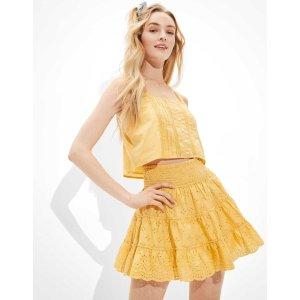 aerieAE Solid Smocked Tiered Mini Skirt