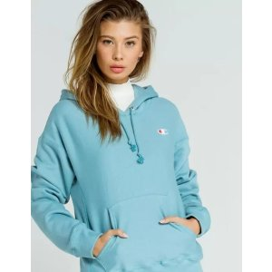 ChampionReverse Weave Embroidered Womens Blue Hoodie